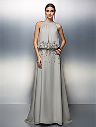 A-Line Jewel Neck Floor Length Chiffon Prom Formal Evening Black Tie Gala Dress with Beading Sequins by TS Couture®