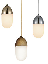 cheap -Mini Acorn Pendant Lamp/1 Light/Mordern Simplicity/Golden/Chrome/Wooden Color/Finish Carbon Steel & Glass/Droplight