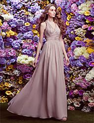 Sheath / Column Halter Floor Length Chiffon Bridesmaid Dress with Criss Cross by LAN TING BRIDE®