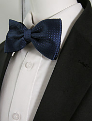 Men's Navy Solid Dots Pre-tied Ajustable SilkBlend Wedding Dress Fashion SilkBlend Bow Tie