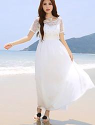 baratos -Mulheres Vestido Maxi Manga Curta Decote Redondo Com Miçangas Mulheres