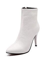 abordables -Mujer Zapatos Semicuero Otoño / Invierno Botas de Moda Botas Dedo Puntiagudo Botines / Hasta el Tobillo Hebilla para Vestido Blanco /