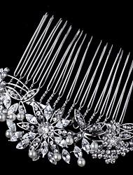 Flashion Charming Wedding Party USA Bride Flower Austria Crystal Pearls Handmake Silver Combs Hair Accessories