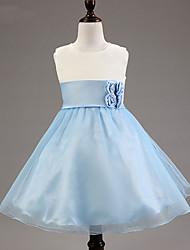 a-line kolenní délka květina dívčí šaty - polyester satérový tyle bez rukávů krk s kr