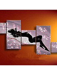 100% Hand-painted Abstract Plum Women Oil Painting on Canvas 5pcs/set No Frame