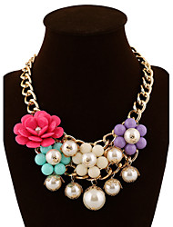 cheap -Women's Beaded Candy Multi Layer Statement Necklace Layered Necklace Pearl Alloy Statement Necklace Layered Necklace , Party