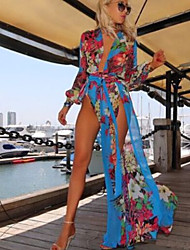 Da donna Con stampe Prendisole Costumi da bagno Maglia,Chiffon Blu
