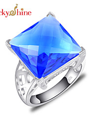 Lucky Shine Women's Men's Unisex Silver Trendy Rings With Gemstone Fire Square Swiss Blue Topaz Crystal Party Jewelry