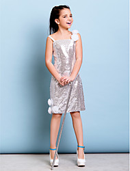 Sheath / Column Spaghetti Straps Short / Mini Knee Length Sequined Junior Bridesmaid Dress with Flower(s) Sequins by LAN TING BRIDE®