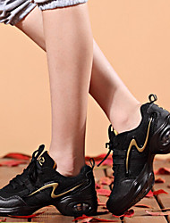 cheap -Women's Dance Sneakers Synthetic Sneaker Lace-up Low Heel Non Customizable Dance Shoes Black and Red / Black and Gold