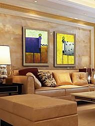 baratos -pintura a óleo animal decoração pintados à mão de linho natural com esticada enquadrado - conjunto de 2