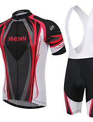 cheap -XINTOWN Men's / Women's Short Sleeve Cycling Jersey with Bib Shorts - Red / Blue Bike Padded Shorts / Chamois / Clothing Suit, 3D Pad, Breathable / High Elasticity