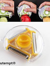 abordables -1pcs couteau multi-fonctions nouveauté rotatif fruit légume éplucheur trancheuse déchiqueteuse 3in1 (couleur aléatoire)