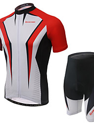 cheap -Women's Short Sleeves Cycling Jersey with Shorts - Gray Red Green Bike Shorts Jersey Clothing Suits, Breathable, 3D Pad