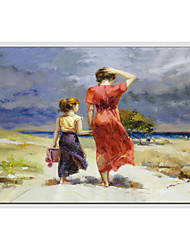 cheap -Oil Painting Hand Painted - People European Style Modern Canvas