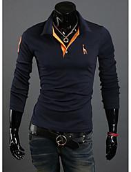 economico -MEN - T-shirt - Informale A camicia - Maniche lunghe Misto cotone