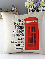 London Telephone booth Patterned Cotton/Linen Decorative Pillow Cover