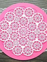 economico -pizzo fiore forma rotonda della torta fondente strumenti muffa del cioccolato del silicone / decorazione