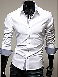 cheap -Men's Business Plus Size Cotton Slim Shirt - Solid Colored Classic Collar