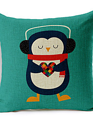 cheap -Colorful Balloon Listen to the penguin of the music Patterned Cotton/Linen Decorative Pillow Cover