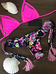 Feminino Estampado Biquíni Roupa de Banho Color Block Boho Fúcsia