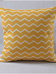 Modern Style Orange Wavy Pattern Cotton/Linen Decorative Pillow Cover