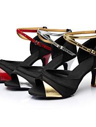 abordables -Femme Latines Soie Similicuir Sandale Basket Entraînement Débutant Professionnel Intérieur Boucle Ruban Talon Personnalisé Noir et rouge