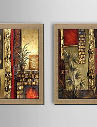 cheap -Oil Painting Decoration Abstract Hand Painted Natural Linen with Stretched Framed - Set of 2