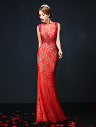 Mermaid / Trumpet Illusion Neckline Ankle Length Lace Charmeuse Formal Evening Dress with Lace Sash / Ribbon Sequins by Huaxirenjiao
