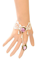 cheap -Vintage Pink Rose  Drip Pearl Bracelet With Ring Elegant Style