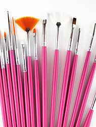 cheap -15PCS Pink Handle Nail Art Design Painting Drawing Pen Brush Set&5PCS 2-way Dotting Marbleizing Pen Tool
