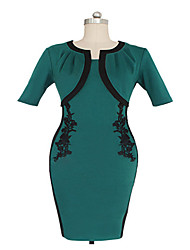 Women's Party Vintage Bodycon Dress,Color Block Round Neck Knee-length Green Summer