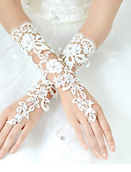 cheap -Lace Polyester Wrist Length Glove Classical Bridal Gloves Party/ Evening Gloves With Solid