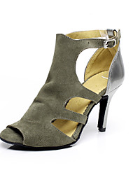 Women's Dance Shoes Suede Suede Latin / Salsa Sandals Stiletto Heel Indoor Gray