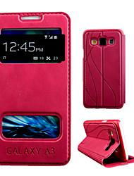 abordables -Funda Para Samsung Galaxy Funda Samsung Galaxy con Soporte / con Ventana / Flip Funda de Cuerpo Entero Color sólido Cuero de PU para A3