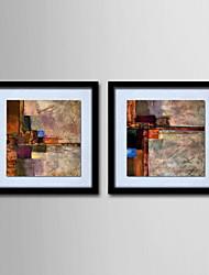 economico -pittura a olio moderna astratta tela dipinta a mano con cornice allungato - set di 2
