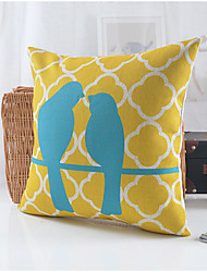 Country Style Birds Couple Pattern Cotton/Linen Decorative Pillow Cover