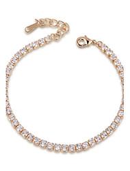 T&C Women's Crystal Wedding Jewelry 18K Rose Gold Palted Rhinestones Swiss Cubic Zirconia Chain Tennis Bracelet