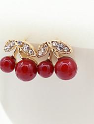 Brincos Curtos Cristal Moda Europeu Imitação de Pérola Strass Chapeado Dourado 18K ouro imitação de diamante Áustria Cristal Dourado Jóias