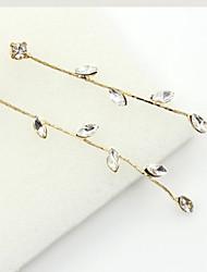 Brincos Compridos Cristal Moda Europeu Strass Chapeado Dourado 18K ouro imitação de diamante Áustria Cristal Dourado Jóias Para 2pçs