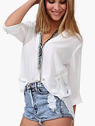 billige -V-hals Dame - Ensfarvet Bluse