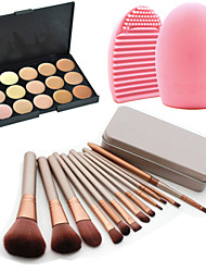 cheap -12Pcs Cosmetic Makeup Tool Eyeshadow Powder Blush Foundation Brush Set Box +15Colors Concealer+1PCS Brush Cleaning Tool