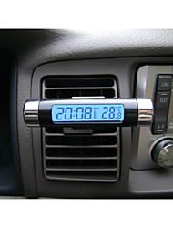 lcd auto alla moda digitale retroilluminato blu automobilistica calendario orologio termometro con la clip all'ingrosso
