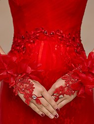 Lace/Tulle Wrist Length Wedding/Party Glove Flowers Rhinestones Red