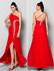 Sheath / Column One Shoulder Floor Length Chiffon Formal Evening Dress with Beading Crystal Detailing Split Front by TS Couture®