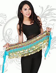 cheap -Belly Dance Hip Scarves Training / Performance Polyester Coin Hip Scarf