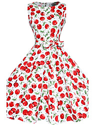Vestito Da donna Taglie forti / Vintage / Da serata / Da ufficio / Casual Con stampe Al ginocchio A barca Cotone