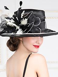 baratos -Capacete Chapéus Casamento/Ocasião Especial/Ao ar Livre Organza Mulheres Casamento/Ocasião Especial/Ao ar Livre 1 Peça