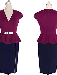 baratos -Mulheres Tubinho Vestido - Frufru, Estampa Colorida Decote V Cintura Alta