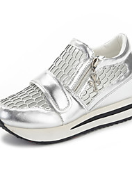 Damen Sandalen Komfort Leder Sommer Herbst Normal Kleid Walking Reißverschluss Ausgehöhlt Flacher Absatz Keilabsatz Weiß Silber Rosa Flach